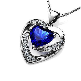 Dephini blue heart necklace - 925 sterling silver heart pendant cz