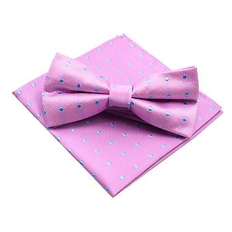 Bright pink & blue polka dot bow tie & pocket square