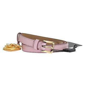 Dolce & Gabbana Rosa Skinn Gull Hjerte Mamma Belte