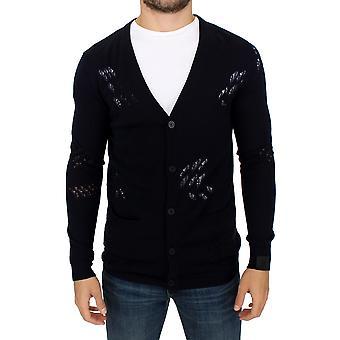 Karl Lagerfeld blaue Wolle Strickjacke Pullover