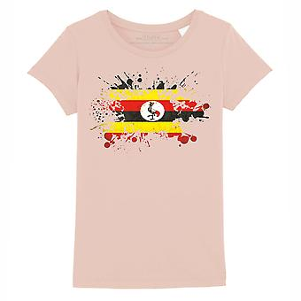STUFF4 Girl's Round Neck T-Shirt/Uganda Flag Splat/Coral Pink