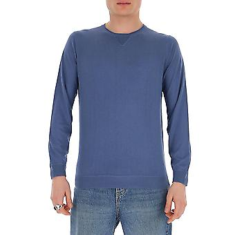 Laneus S2203cc9denim Men's Blue Cotton Sweater
