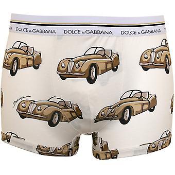 Dolce & Gabbana Bilar Print Boxer Trunk, Grädde