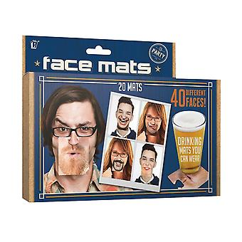 Party Face Mats Funny Drinking Wear Fancy Dress Drinks Coasters Novelty Gift