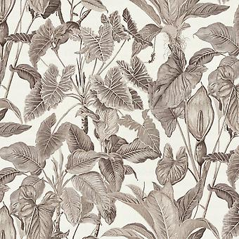 Erismann Paradiso Tropical Leaves Pattern Jungle Leaf Forest Textured Silver Grey Wallpaper