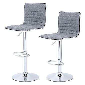 Set of 2 modern linen bar chairs - grey