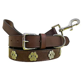 Bradley crompton genuine leather matching pair dog collar and lead set bcdc8brown