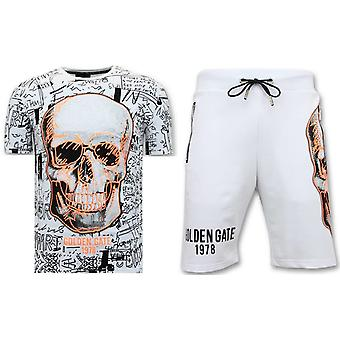 Jogging Suit Short - Skull Neon Print - F73567 - White