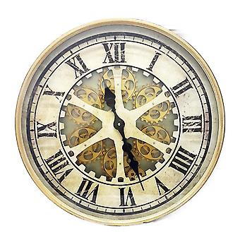 Round 60cm Ragnar moving cogs wall clock - Gold