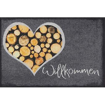 Salonloewe deurmat hout liefde 50 x 75 cm wasbaar