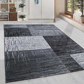 Court-flor design tapis modèle géométrique moderne Gris Noir Blanc Meliert