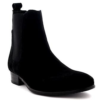 Mens H By Hudson Watts Suede Black Pull On Casual Ankle Chelsea Boots