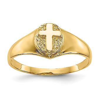 14k Geel Goud voor jongens of meisjes Gepolijst Religieus Geloof Kruis Ring Maat 4 - 1.5 Gram