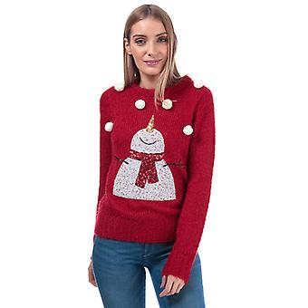 Women's Brave Soul Sequin Snowman Christmas Jumper in Red
