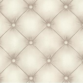 Leder Effekt Chesterfield Tapete Creme Beige Paste die Wand Feine Dekor