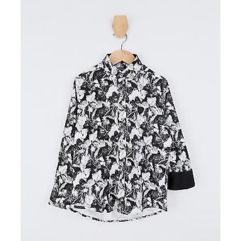Doctor Junior Boys Slim fit Leaves Print Black and White Shirt