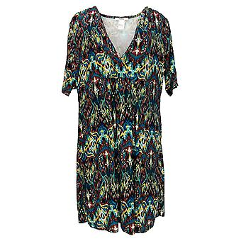 Masseys Women's Plus Top V-Neck Gathered Tunic Berry/Brown/Teal/Multi