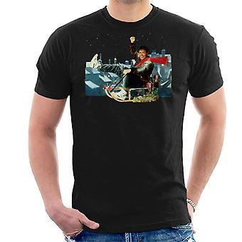 TV Zeiten Sänger Cliff Richard auf einem Schlitten Weihnachten 1990 Herren T-Shirt