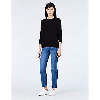 MERAKI Women's Cotton Crew Neck Sweater, (Black), EU XS (US 0-2)