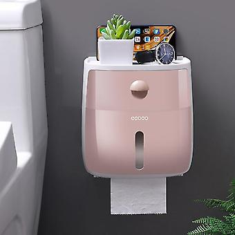Double Layer Toilet Paper Holder Waterproof Storage Box Wall Mounted Toilet