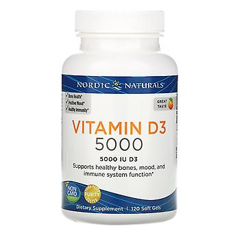 Nordic Naturals, Vitamine D3 5000, Orange, 5 000 UI, 120 Gels mous
