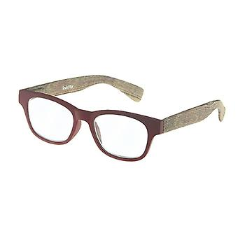 Reading Glasses Unisex Wood Red/Brown Strength +2.50 (le-0166C)
