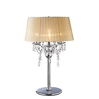 Bordlampe med blød bronzeskygge 3 let poleret krom, krystal