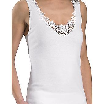 Slenderella cotone bianco ricamato senza maniche Cami Top V12