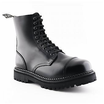 Grinders Unisex Bulldog Cs Black 10 Eye Grainy Leather Steel Toe Derby Boots