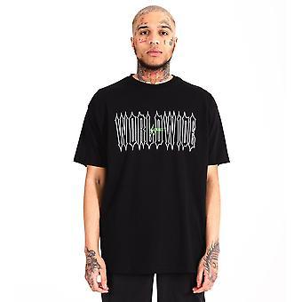 Distress 'Worldwide' T-Shirt Black
