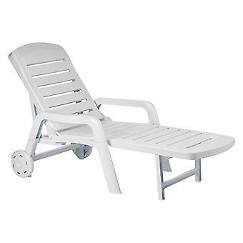 Resol 2 Piece Palamos Plastic Garden Sun Lounger Bed Set - Adjustable Reclining Outdoor Furniture - White