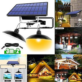 חיצוני מקורה כפול ראש מנורה סולארית עם קו חם לבן / לבן תאורה סולארית תליון אור עבור קמפינג בחצר הגן הביתי
