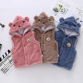 Autumn Winter Fur Hooded Girls Boys Vest Warm Waistcoat For Kids