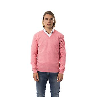 Uominitaliani Corallo Pink V-Neck Sweater