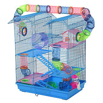 PawHut 5 Tier Hamster Cage Carrier Habitat with Exercise Wheels Tunnel Tube Water Bottle Dishes House Ladder for Dwarf Mice, Blue