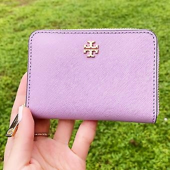 Tory burch emerson zip coin case wallet dusty violet purple key ring