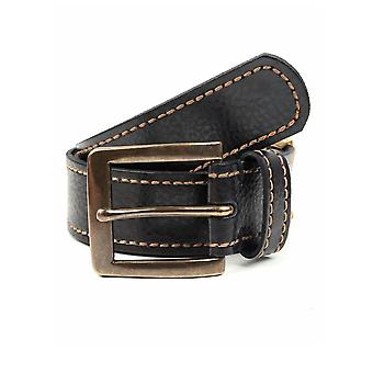 Casual Leather Belt with Contrast Stitching
