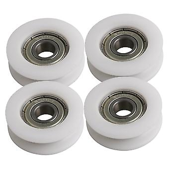 4Pieces U-Type Groove Bearing Pulley Wheel White 34x10.5mm pour meubles