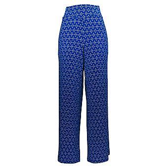 Nina Leonard Women's Pants Stretch Crepe Wide Leg W/ Pockets Blue 642-927