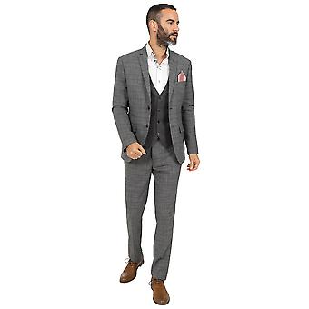Jenson Samuel York Grey Check Three Piece Suit With Contrast Waistcoat