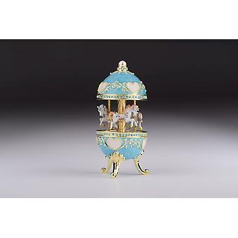 Teal Wind Up Musical Carousel - Trinket Box