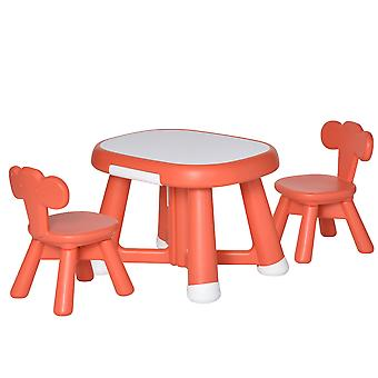 HOMCOM Kid Table and Chairs Set  Writting Desk w/ Whiteboard Tabletop Equiped 2 Chairs for School Home Toddlers Age 1 to 6 Years Coral Red