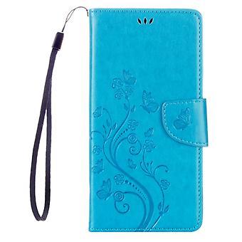 Für Sony Xperia XA Ultra Flowers Prägung horizontal Flip Ledertasche mit Halter & Kartensteckplätze & Brieftasche & Lanyard(Blau)