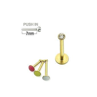 Push-in labret 16g chirurgisch staal met pers fit juweeltje
