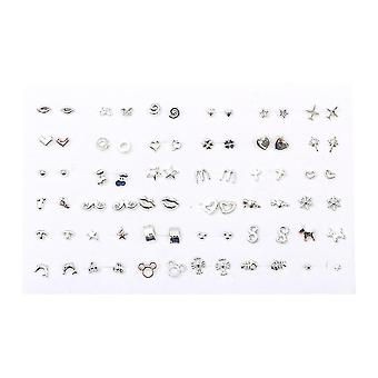 36 Pairs Women Butterfly Bowknot Flower Heart Small Plastic Stud Earrings Sets
