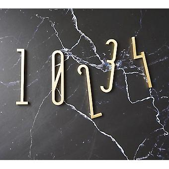 Golden Brass Letters And Numbers, Wall Decor Villa Hotel Door Plates Figures