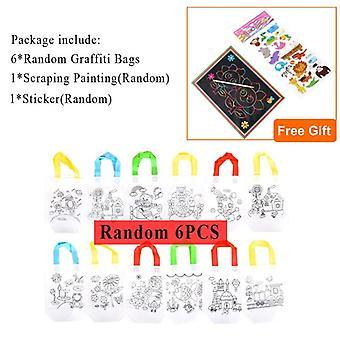 6pcs Antistress Puzzles Educational Toy For- Diy Eco Friendly Graffiti Bag-