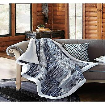 Spura Home  Montana Cabin Blue & Gray Patchwork Quilted Sherpa Throw Blanket sofa Bed