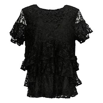 Du Jour Mujeres's Top Tiered Knit Lace W/ Back Keyhole Detalle Negro A342175