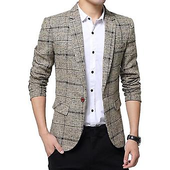 Men's Plaid Spring Autumn Blazers Casual Slim Fits Coat Suit Jacket